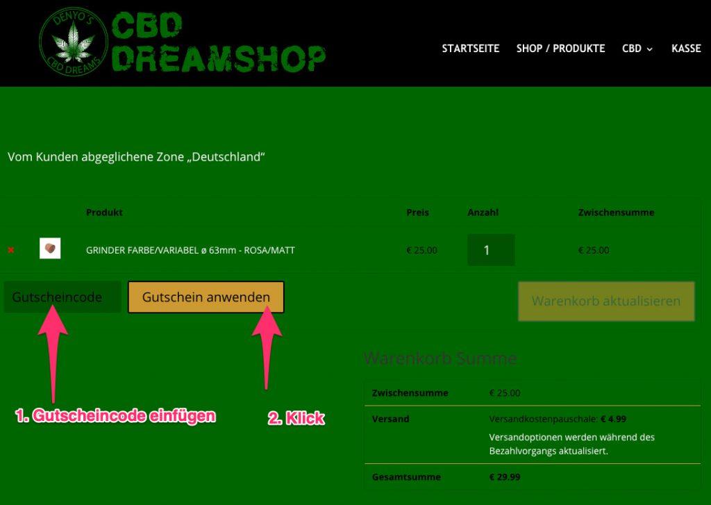 CBD Dreamshop gutscheincode tutorial