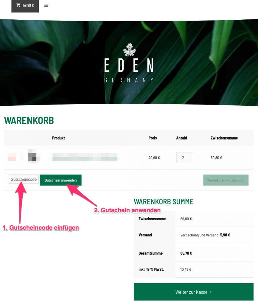 EDEN Germany gutscheincode tutorial
