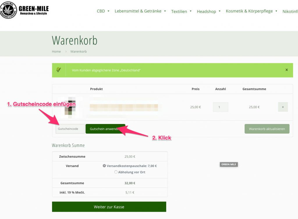 GREEN MILE gutscheincode tutorial