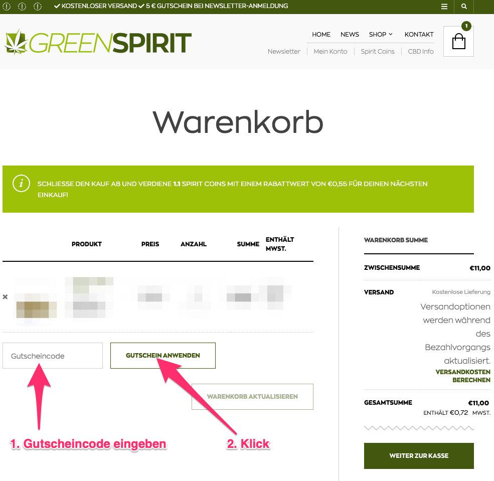 Greenspirit gutscheincode tutorial