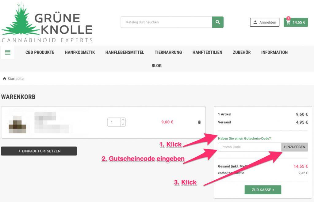 Grüne Knolle promo-code tutorial