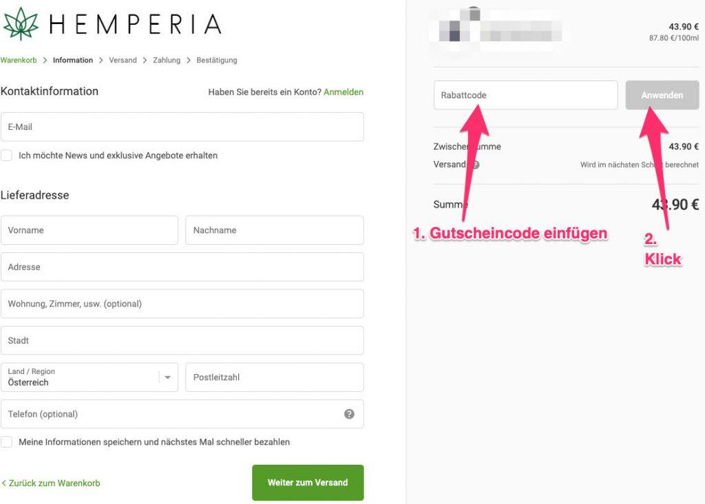 HEMPERIA gutscheincode tutorial