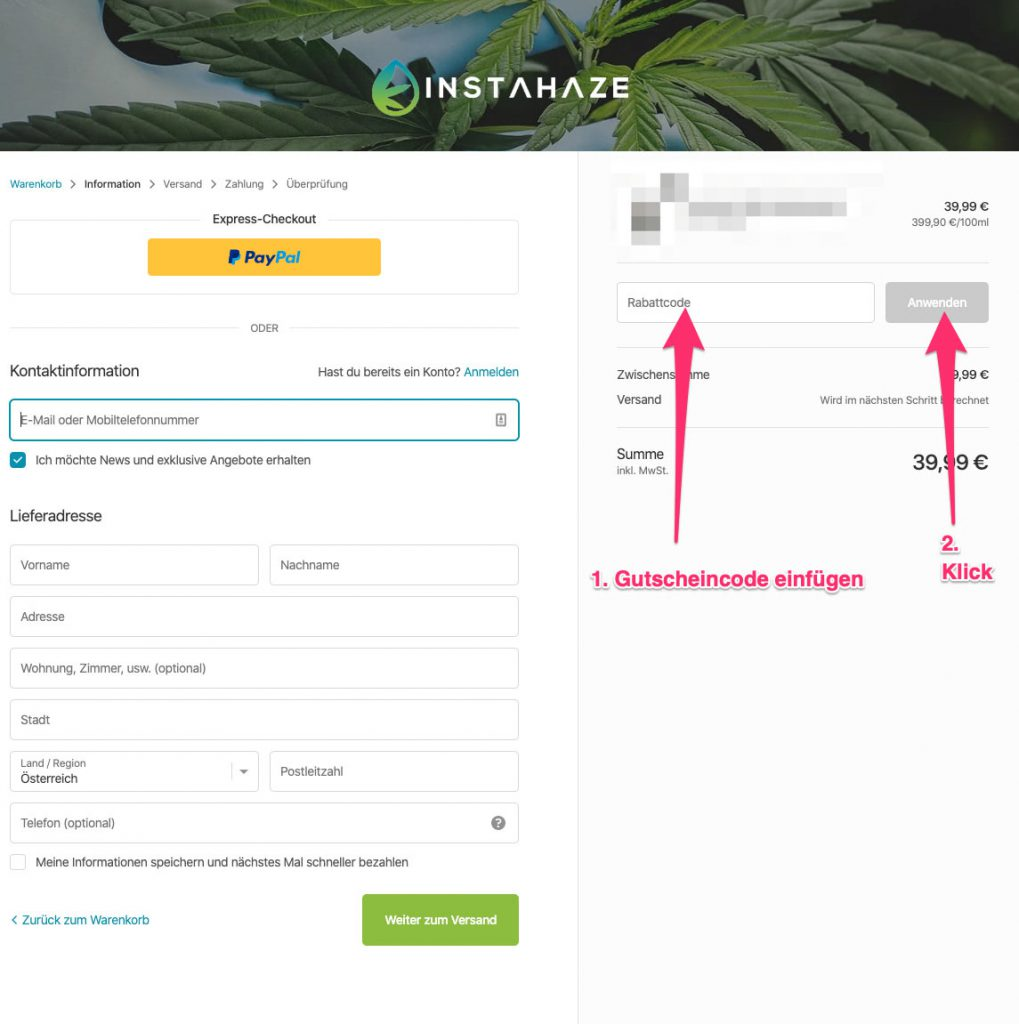 InstaHaze Rabattcode tutorial